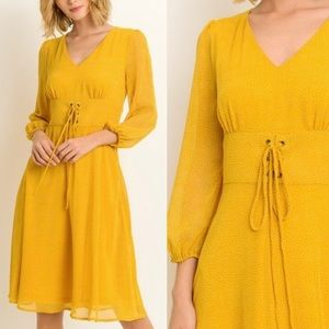 Dresses - Yellow Chiffon Dress